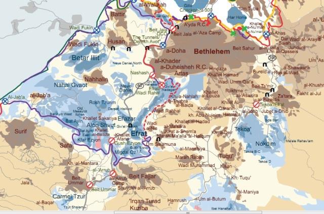 "Un esempio di ""blocco di colonie"": Gush Etzion, tra Gerusalemme e Betlemme"
