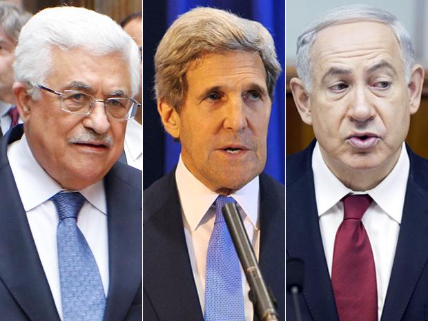 Il presidente palestinese Abbas, il segretario di Stato USA Kerry e il premier israeliano Netanyahu