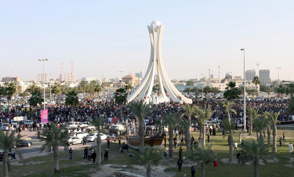 Manifestanti a piazza della Perla, Manama