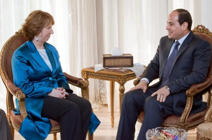 Catherine Ashton, 'Abd al-Fattah al-Sisi (source: al-Jazeera)