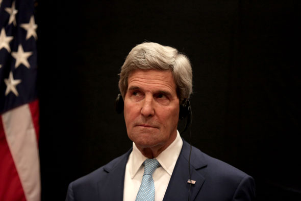 U.S. Secretary of State John Kerry listens to a translation of remarks during a joint news conference with Egyptian Foreign Minister Sameh Shoukry following his meeting with Egyptian President Abdel-Fattah el-Sissi. AP Photo/Maya Alleruzzo. Source: Truthdig