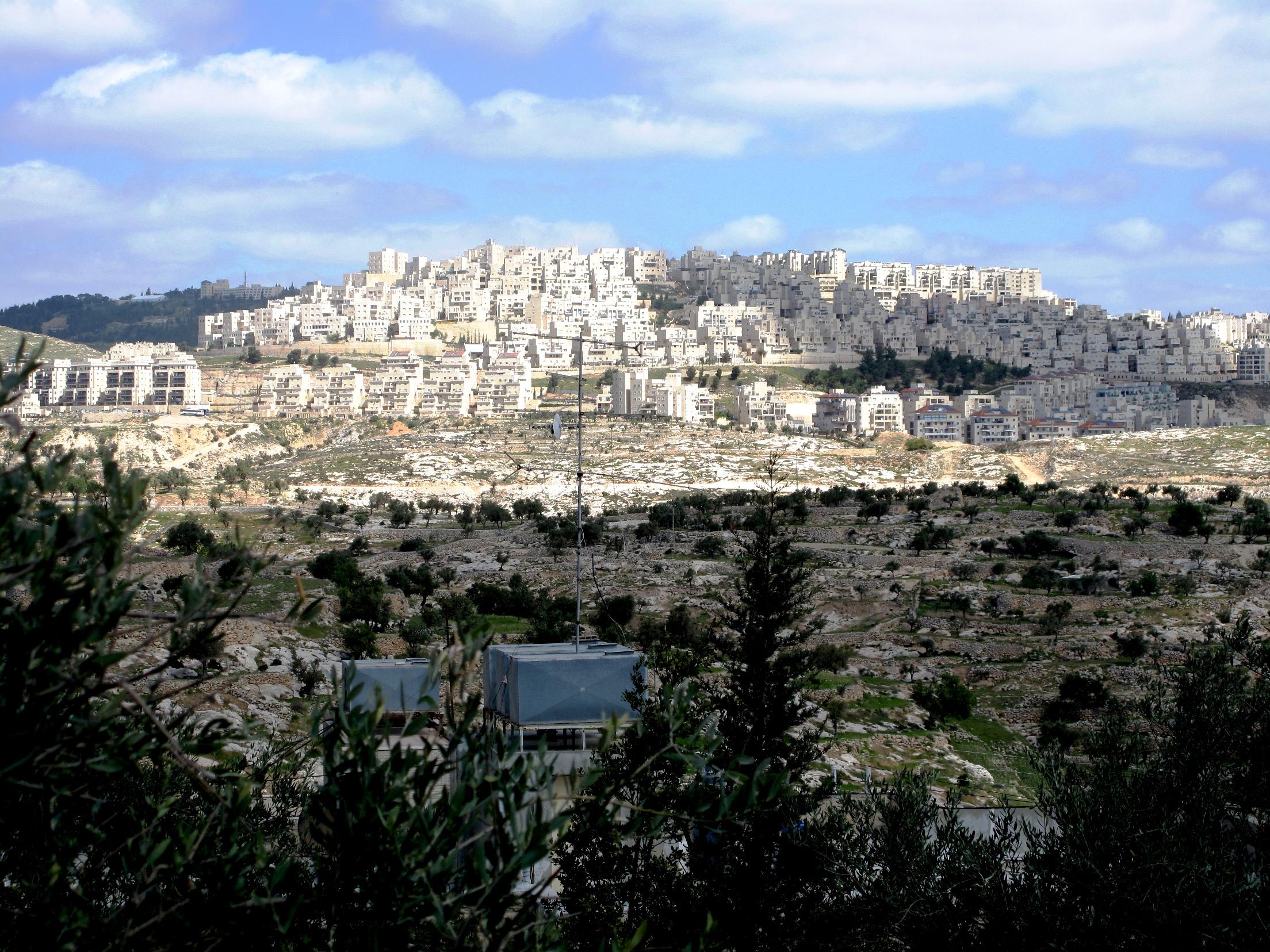 La collina di Abu Ghneim, oggi occupata dalla colonia di Har Homa (Foto: Nena News)