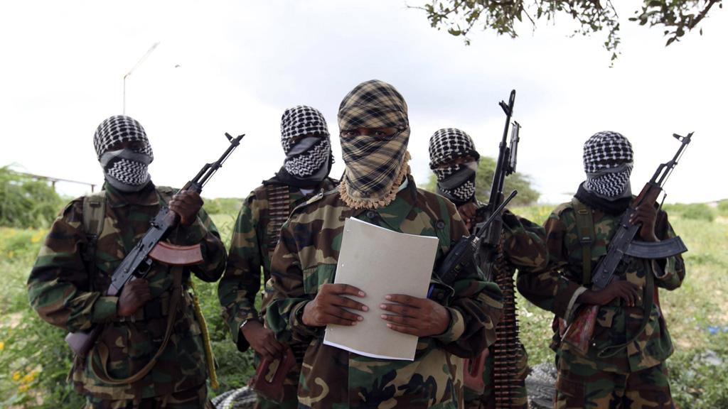 Al Shabaab's military spokesman Sheik Abdul Asis Abu Muscab issues a statement south of capital Mogadishu