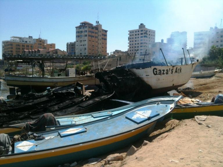 L'Arca di GAza distrutta (Foto: Michele Giorgio/Nena News)