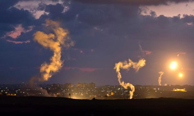 Israeli military flares over Gaza Strip