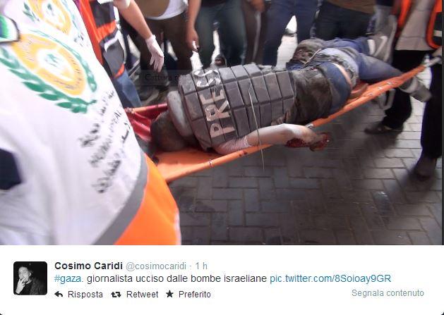 Il giornalista palestinese ucciso (Fonte: Cosimo Caridi)