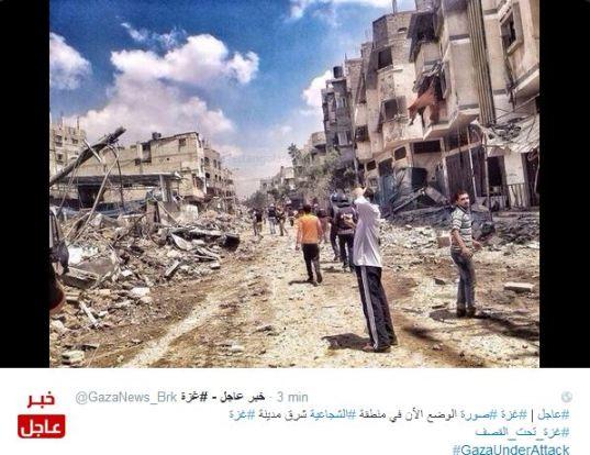 Distruzione a Shajaiye dopo il massacro