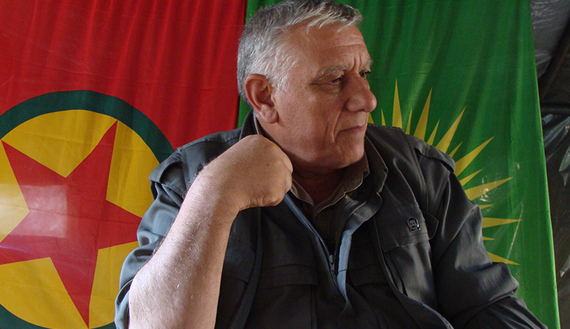 Cemil Bayik, the PKK's top field commander, is interviewed by Al-Monitor in the Qandil mountains, September 2014. (photo by Amberin Zaman. Source: al-Monitor)