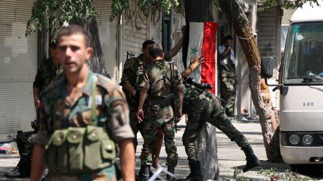 Soldati dell'esercito siriano a Damasco