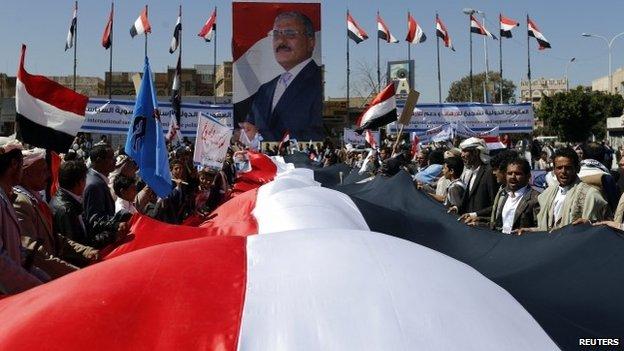 Sostenitori dell'ex presidente Saleh (Foto: Reuters)