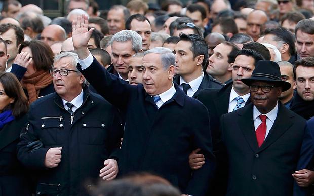 Il premier israeliano Netanyahu durante la marcia di Parigi (Foto: Yves Herman/Reuters)
