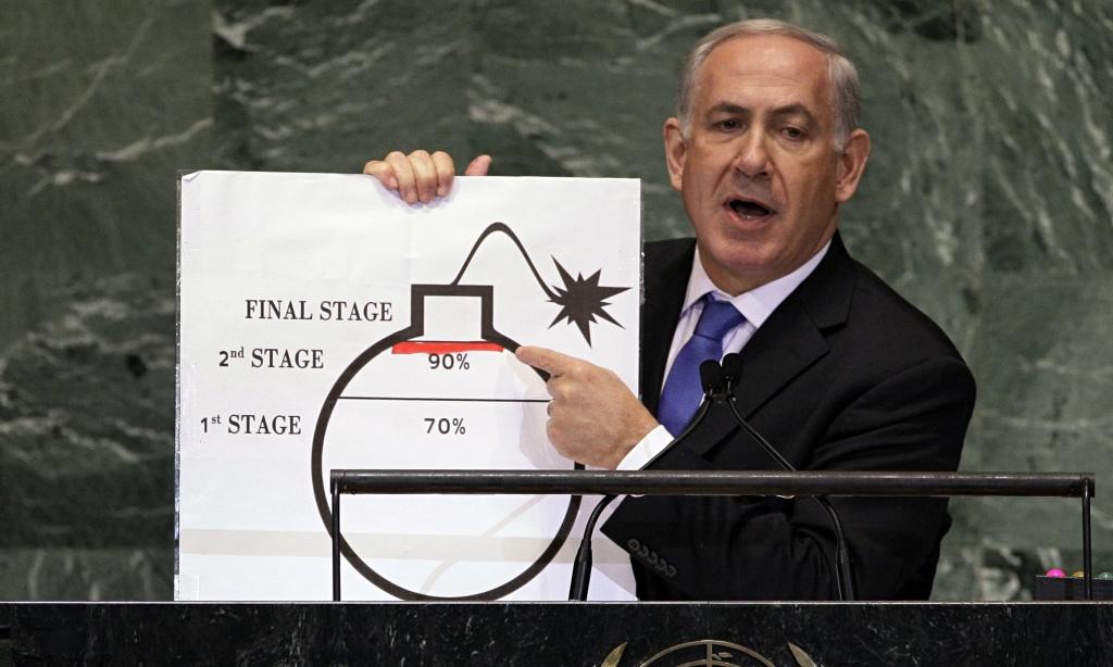 Il premier Netanyahu nel 2012 all'Assemblea Generale Onu accusa l'Iran di voler produrre armi nucleari