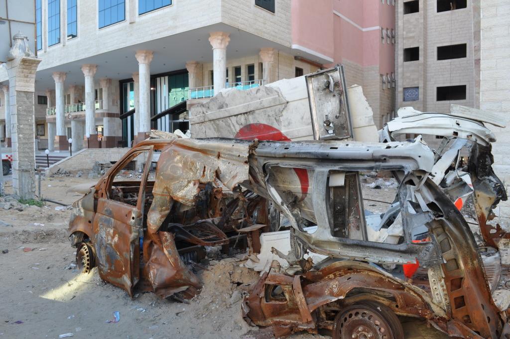 Davanti all'ospedale al Quds