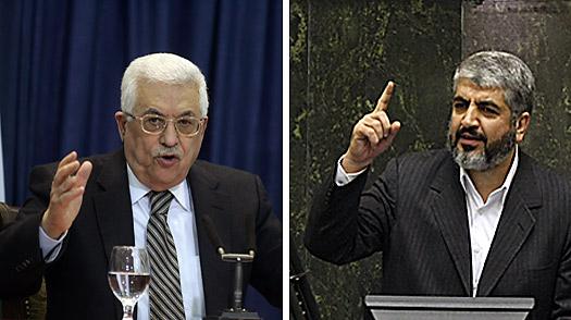 Il presidente dell'Anp Abbas e il leader di Hamas Meshaal