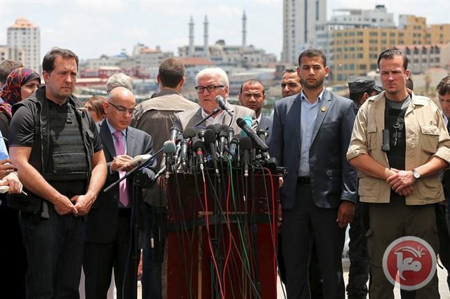 La conferenza stampa a Gaza del ministro degli Esteri tedesco, ieri primo giugno (Fonte: Ma'an News)
