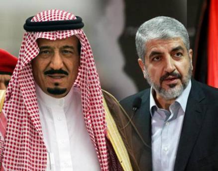Re Salman con il leader di Hamas, Khaled Meshaal