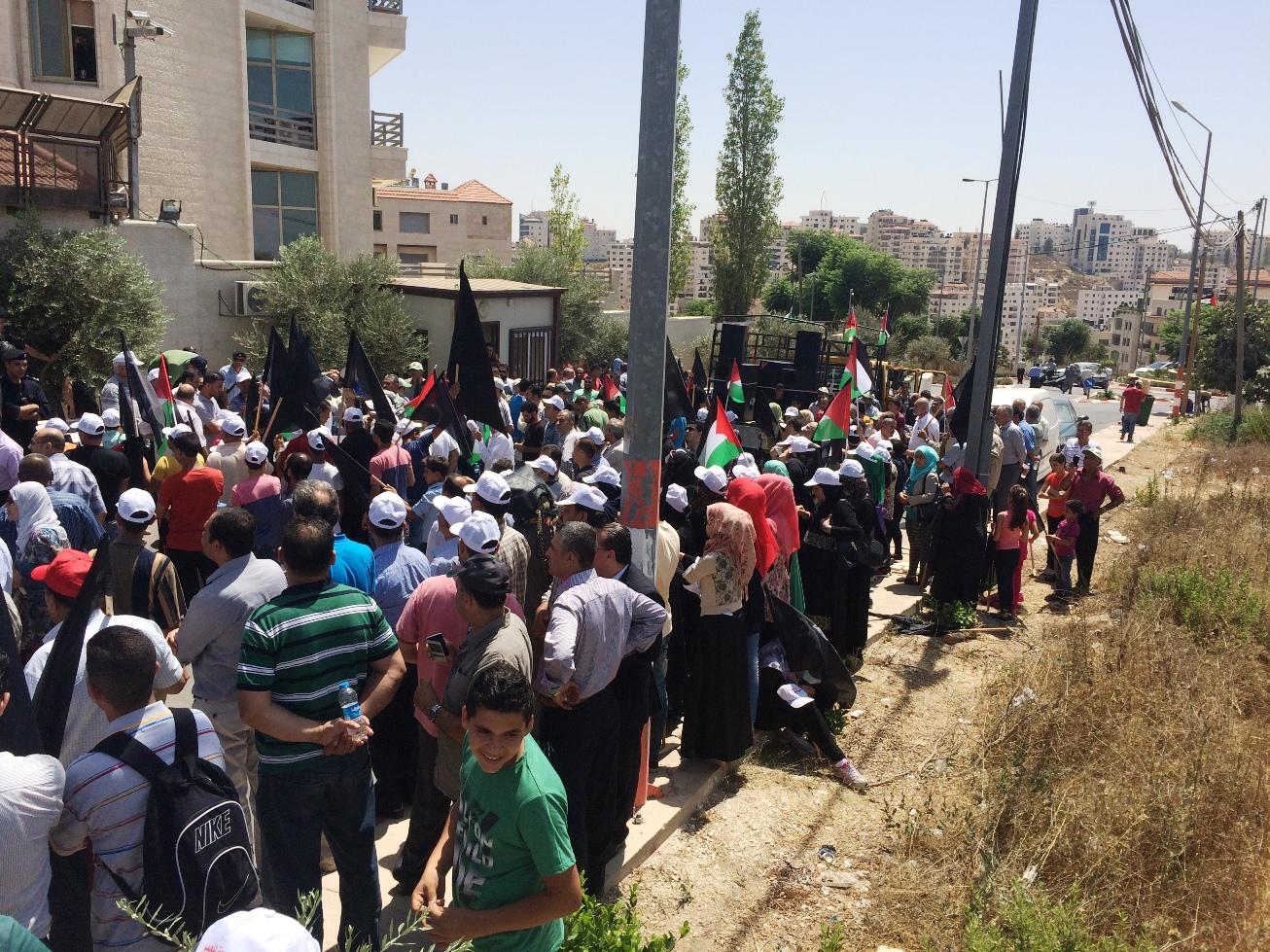 Manifestazione a Ramallah contro i tagli Unrwa (Foto: Michele Giorgio/Nena News)