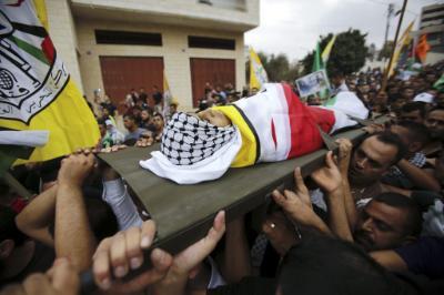 Il funerale del 13enne palestinese Aber Ar-Rahman Abd Allah (Foto: EPA/Abed al Haslhamoun)