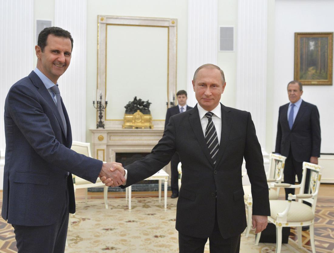 Il presidente siriano Assad e il russo Putin ieri al Cremlino (Foto: RIA Novosti/Reuters)