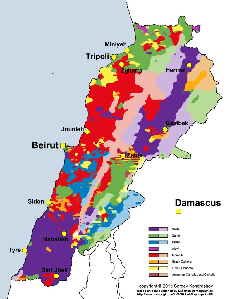 Distribuzione demografica delle sette religiose libanesi