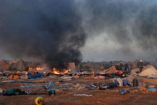 La distruzione del campo saharawi di Gdeim Izik, nel 2010 (Fonte: www.geopolitica.info)