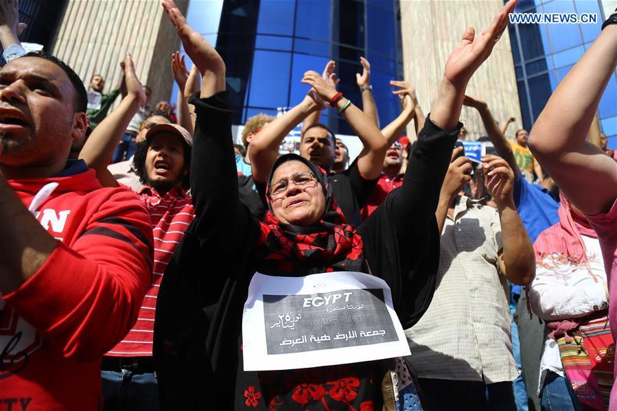 La manifestazione di protesta di venerdì 15 aprile al Cairo, di fronte alla sede del Sindacato della Stampa (Foto:  (Xinhua/Ahmed Gomaa))