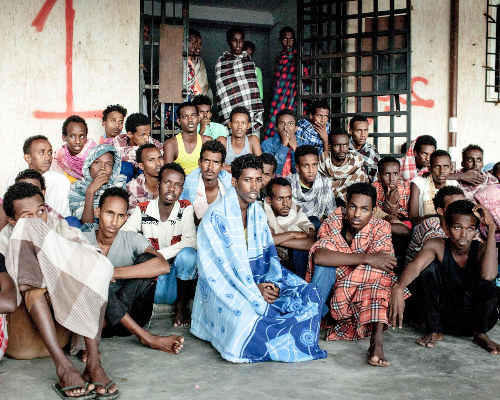 Migranti somali fermati durante la traversata e riportati in Libia. Photo. Lorenzo Meloni