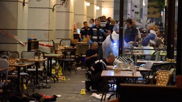 Il centro commerciale Sarona Market a Tel Aviv dopo la sparatoria di mercoledì (Foto: Gili Yaari/Flash90)