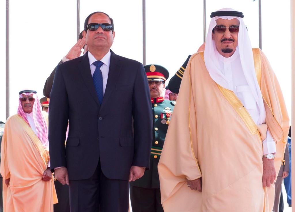Il presidente egiziano al Sisi e il re saudita Salma (foto SPA)