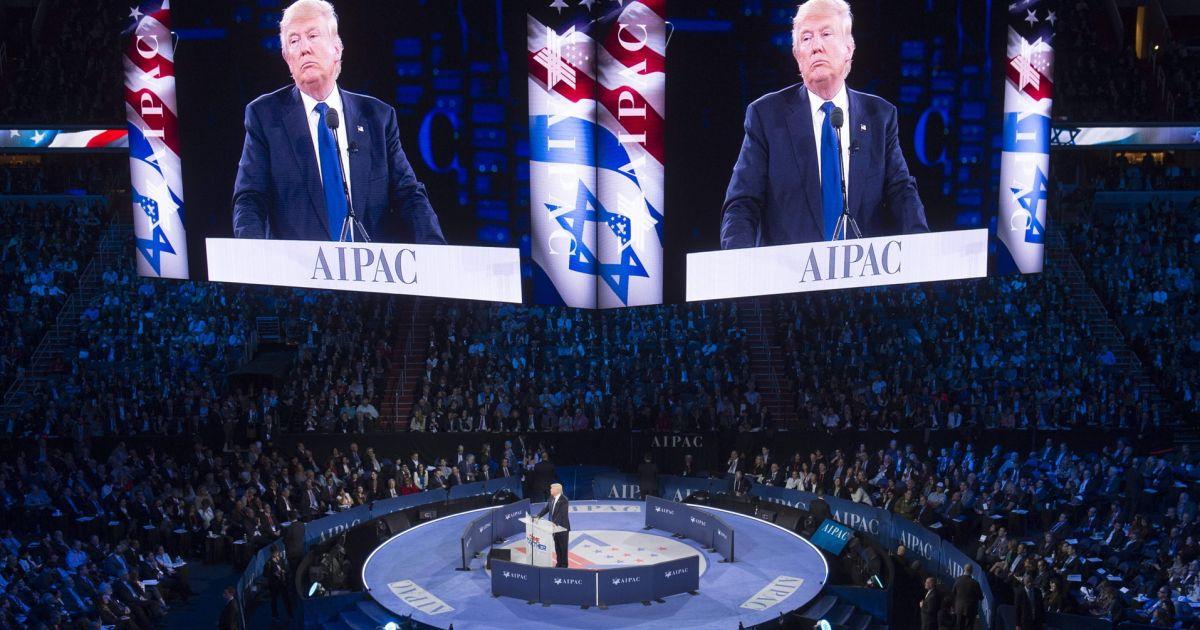 Trump parla all'Aipac, marzo 2016. Foto tratta dal sito di Haaretz