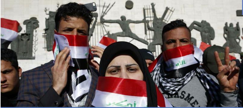 La protesta in silenzio di Baghdad (Fonte: The New Arab)