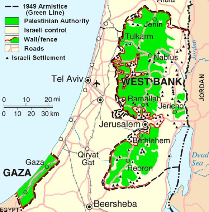 Israele-Palestina mappa