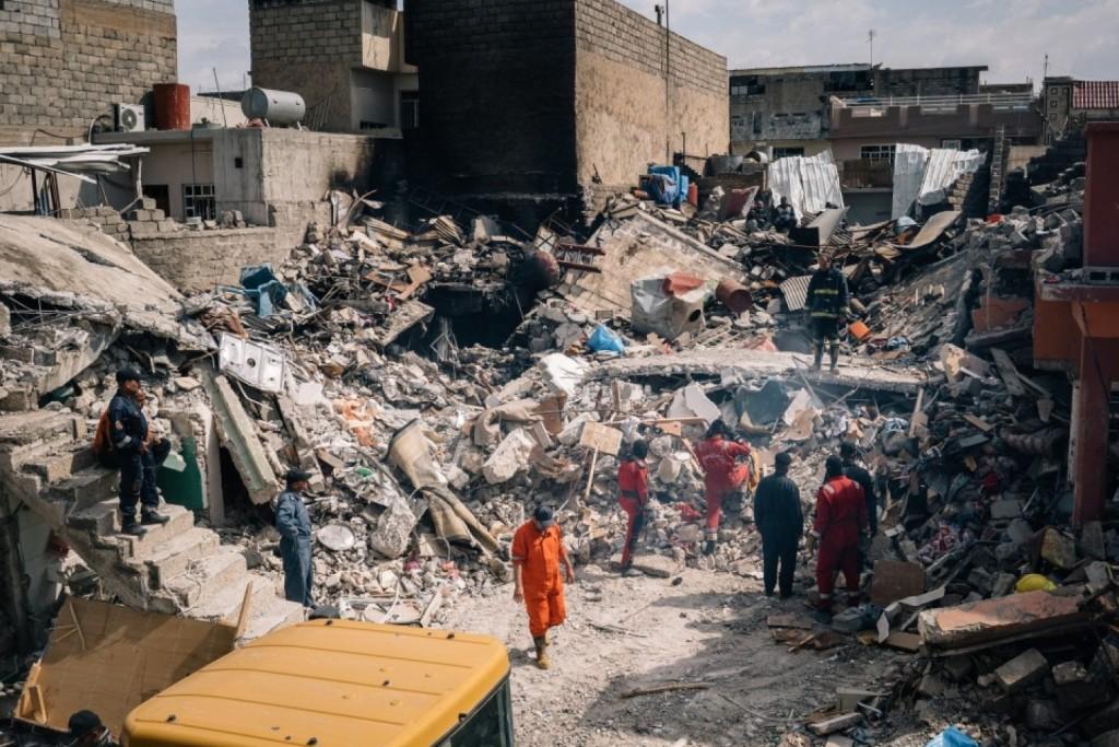 Le abitazioni colpite dal raid Usa il 17 marzo nel quartiere Jadida di Mosul (Foto: Alice Martins for The Washington Post)