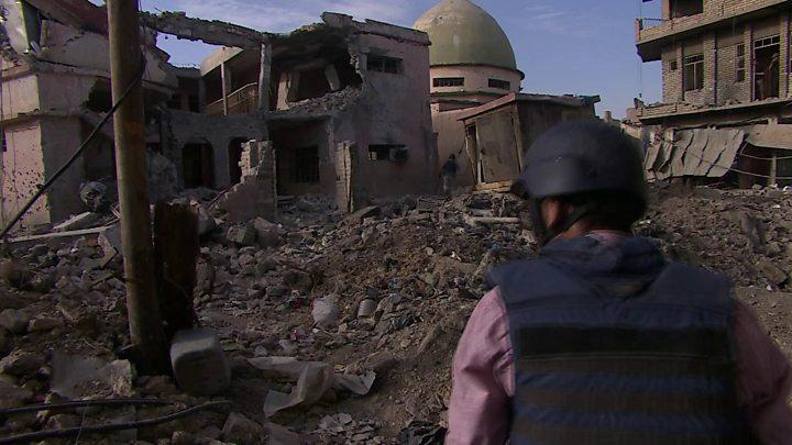 Moschea distrutta di al-Nuri a Mosul. (Foto: Bbc)