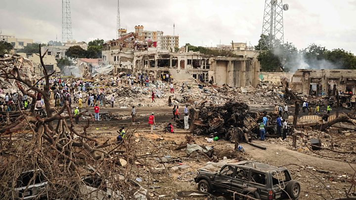 La zona colpita dal camion-bomba a Mogadiscio (Fonte: BBC)