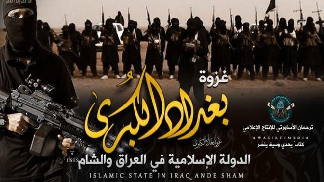 """In arabo: """"La grande invasione di Baghdad"""". (Foto: tratta da un account twitter pro-Isis ripreso dalla Bbc)"""