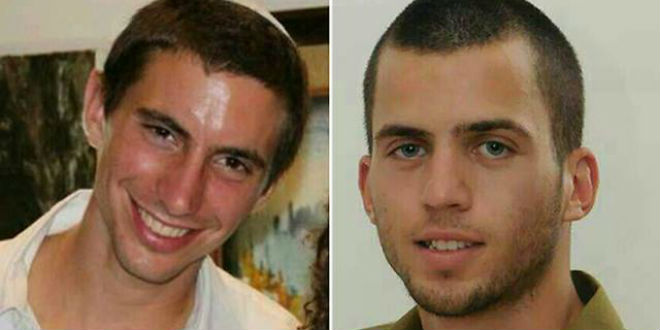 Secondo Israele, i corpi dei soldati israeliani Oron Shaul (sinistra) and Hadar Goldin (destra) sarebbero nelle mani di Hamas nella Striscia di Gaza