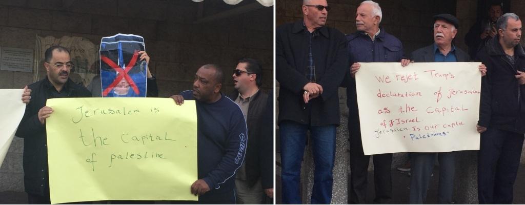 Protesta palestinese all'American House di Gerusalemme (Foto: Michele Giorgio/Nena News)
