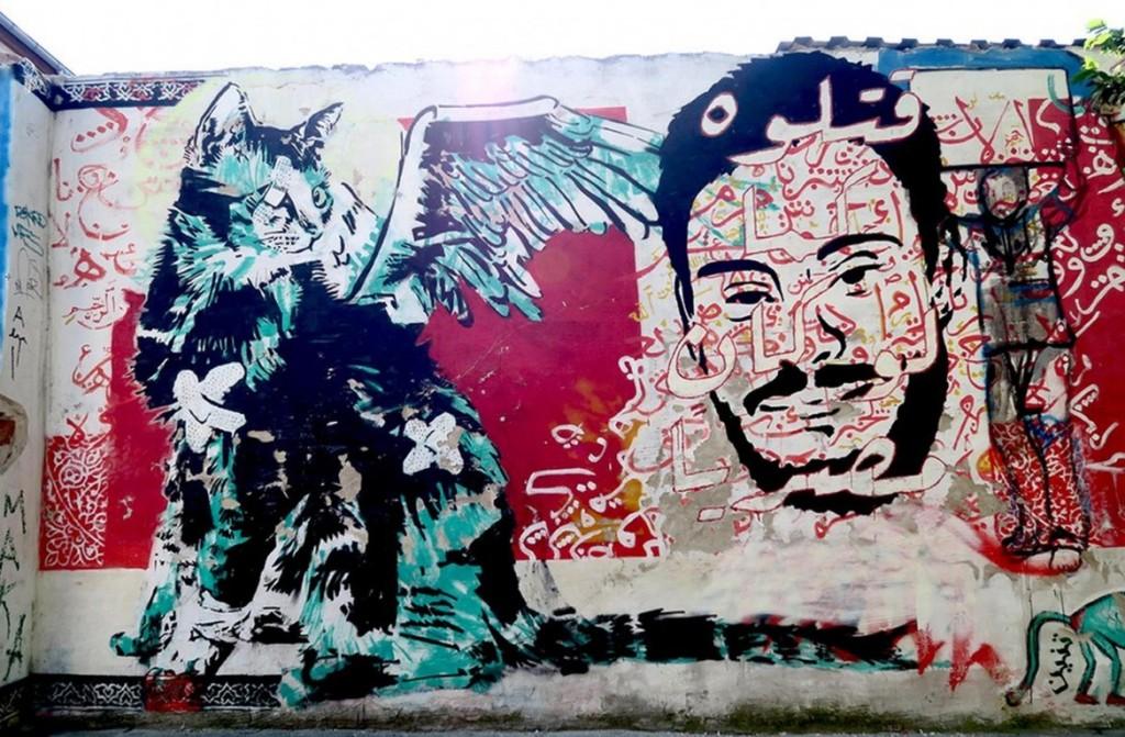 Un murales con il volto di Giulio Regeni (foto Lapresse)
