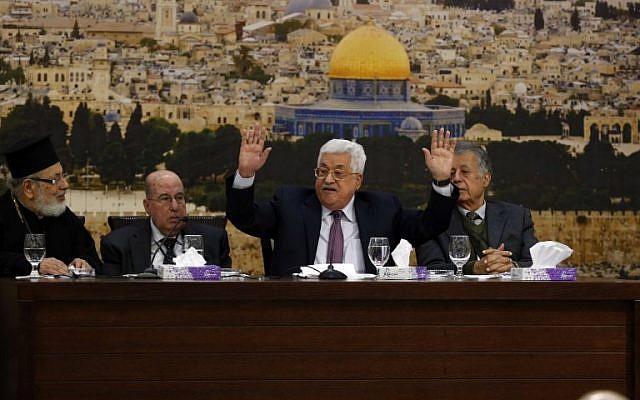 Il discorso di ieri all'Olp di Abu Mazen  (Foto: Afp)