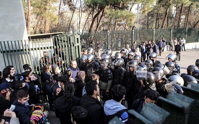 Un momento delle proteste iraniane di fine dicembre