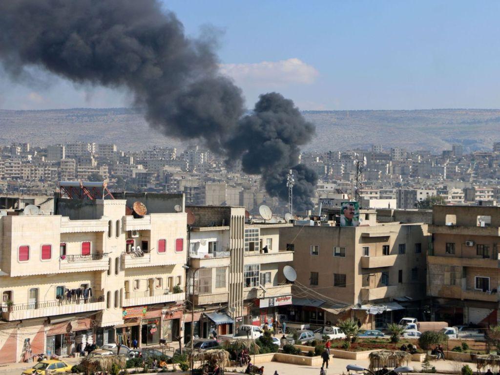 Bombardamenti turchi sul cantone di Afrin (Fonte: Skynews Arabic)