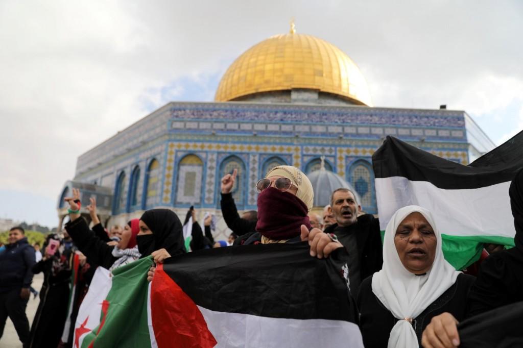 Manifestazione palestinese sulla Spianata delle moschee di Gerusalemme