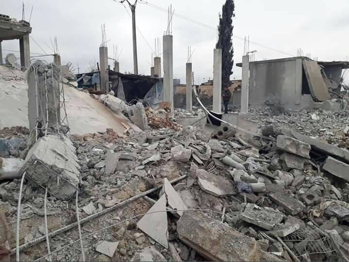 Case distrutte ad Afrin (Fonte: Twitter)