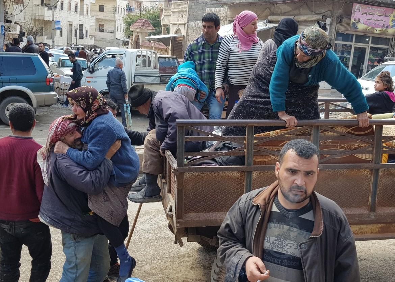 Fuga da Afrin (foto Lapresse)