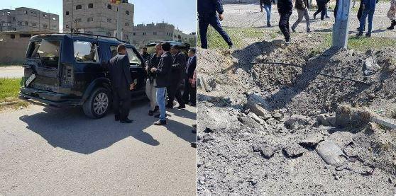 Il convoglio del premier palestinese Hamdallah colpito da un ordigno (Fonte: Twitter)