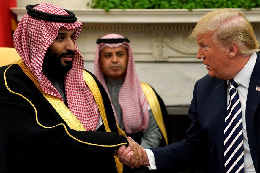 Bin Salman ieri nello Studio Ovale con il presidente Trump (Foto: Reuters)