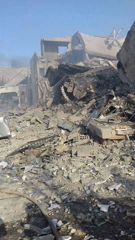Effetti dei bombardamenti (Foto: Twitter)