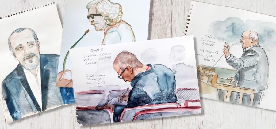 I disegni dal processo a Cumhuriyet
