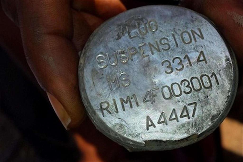Ordigno prodotto in Italia dalla società Rwm ritrovato in Yemen dopo un raid che ha ucciso 6 persone, di cui 4 bambini
